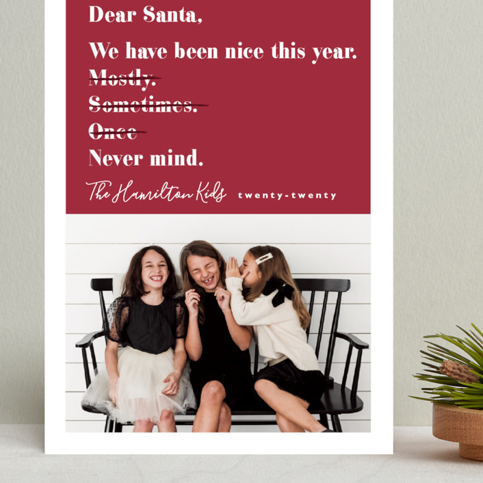 """Never mind"" - Funny Grand Holiday Cards in Berry by Hudson Meet Rose."