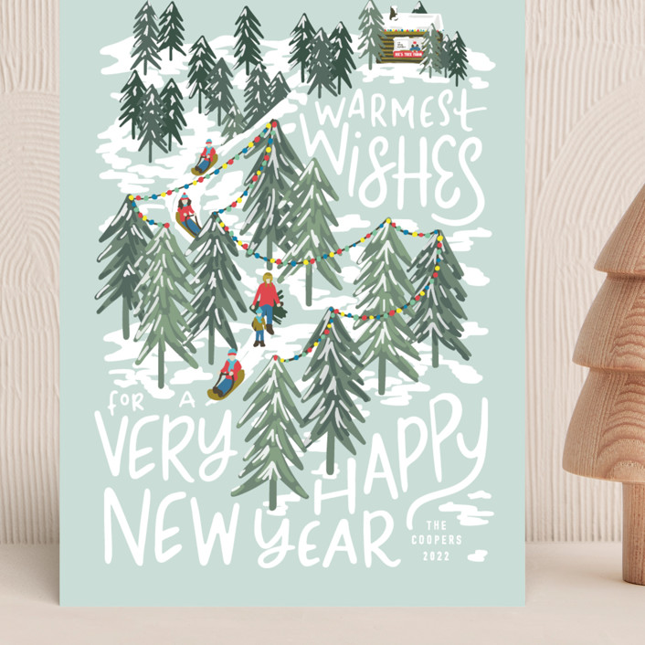 """""""Winter Scene"""" - Grand Holiday Cards in Peppermint by Meggy Masters."""