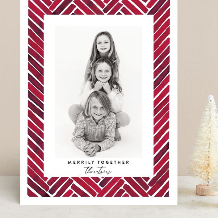 """Merrily Together"" - Modern Grand Holiday Cards in Crimson by Susan Moyal."