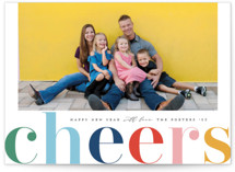 This is a blue holiday photo card by Michelle Taylor called Cheers in Color with standard printing on smooth signature in grand.