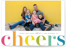 This is a green holiday photo card by Michelle Taylor called Cheers in Color with standard printing on smooth signature in grand.