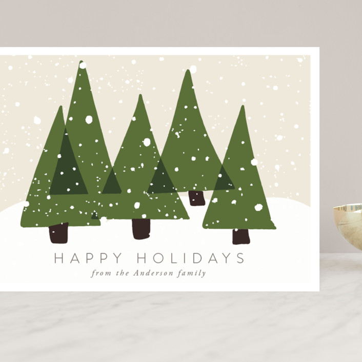 """""""Christmas Trees"""" - Bohemian Grand Holiday Cards in Olive by Roopali."""