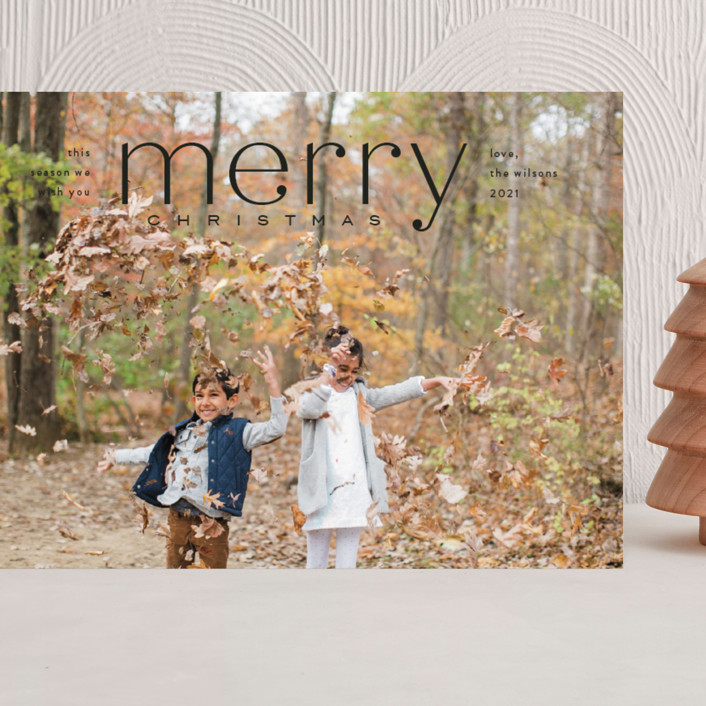 """Mod Tidings"" - Grand Holiday Cards in Midnight by Amy Kross."