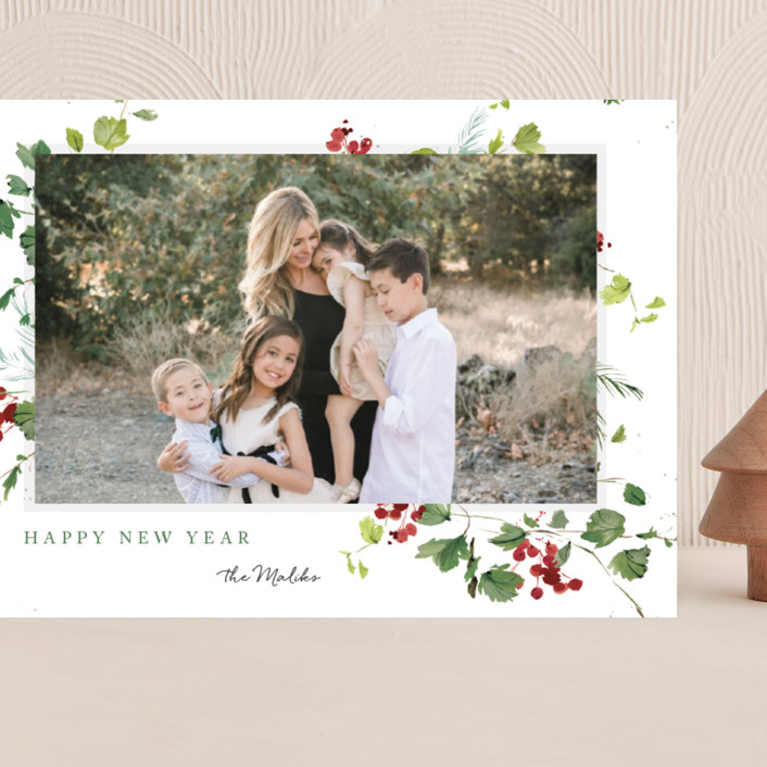 """Festive Ivy"" - Grand Holiday Cards in Snow by Kelly Ventura."