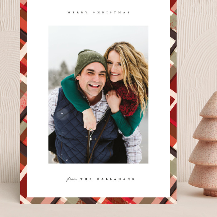 """""""Vienna"""" - Modern, Vintage Grand Holiday Cards in Mulled Wine by Julie Murray."""