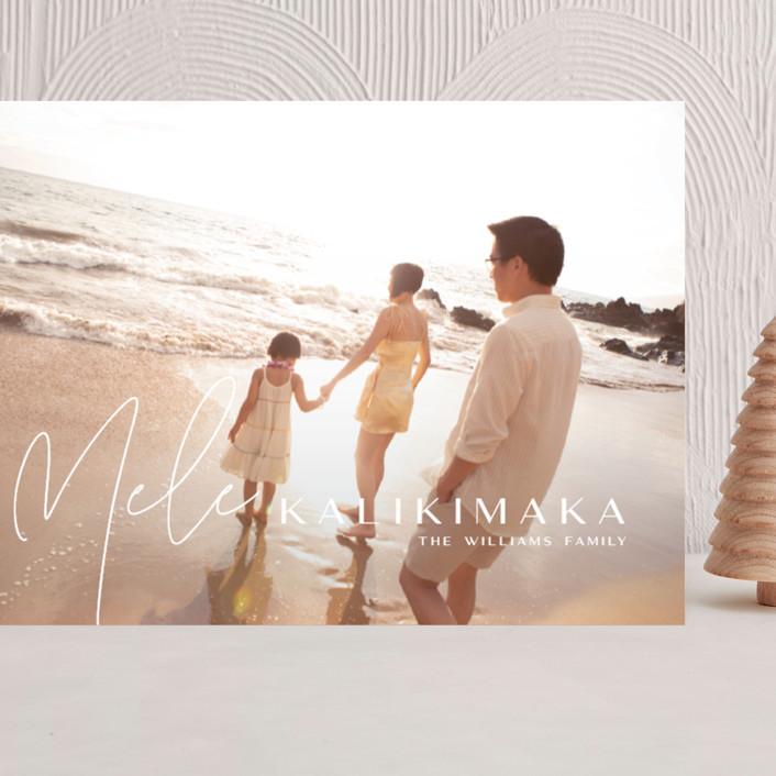 """Island Kalikimaka"" - Modern Grand Holiday Cards in Pikake by Guess What Design Studio."