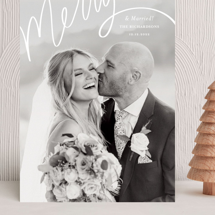 """Merry Hand Lettered Script"" - Modern Grand Holiday Cards in Wedding Cake by Becky Nimoy."
