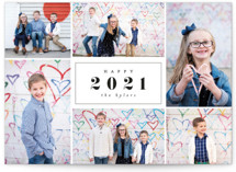 This is a black holiday photo card by peony papeterie called Centered Year with standard printing on smooth signature in grand.