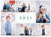 This is a green holiday photo card by peony papeterie called Centered Year with standard printing on smooth signature in grand.