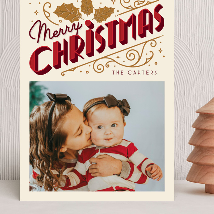 """""""Christmas Past"""" - Vintage Grand Holiday Cards in Cream by GeekInk Design."""