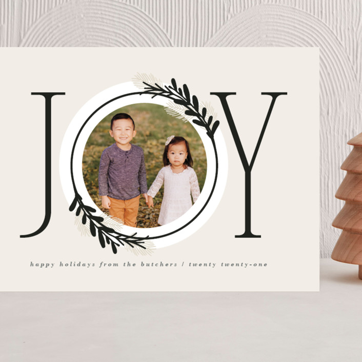 """""""Center Joy"""" - Modern Grand Holiday Cards in Cookie Dough by JeAnna Casper."""