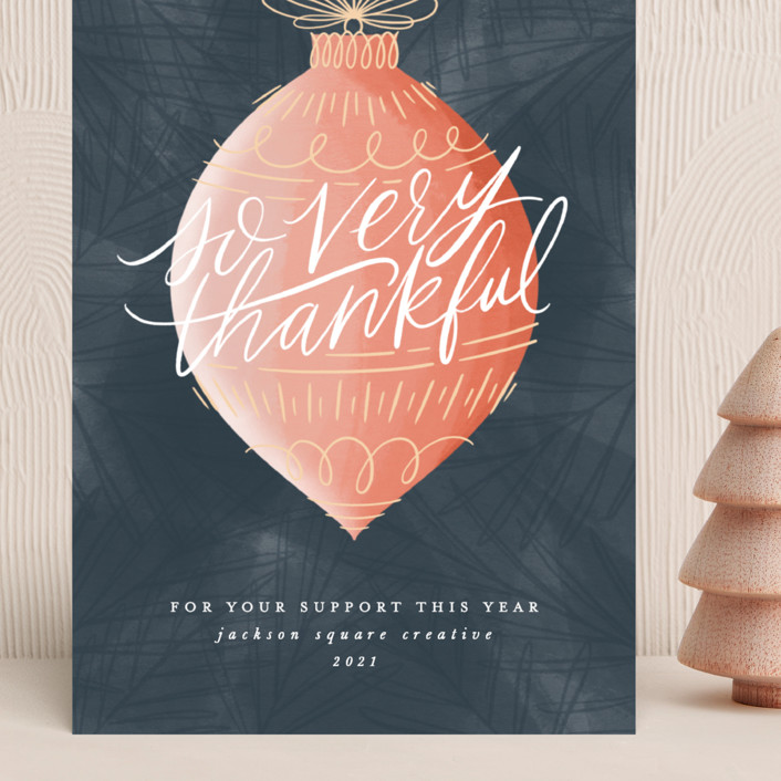 """""""Thankful Ornament"""" - Bohemian Grand Holiday Cards in Navy by Ally Madison."""