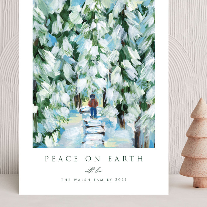 """""""Peaceful Winter Walk"""" - Grand Holiday Cards in Snow by Nicole Walsh."""
