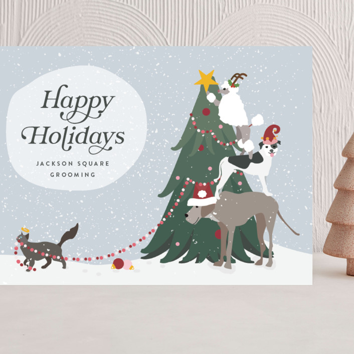 """""""dog deckers"""" - Bohemian Grand Holiday Cards in Flurry by Kamala Nahas."""