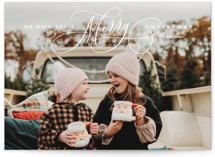 This is a white holiday photo card by Lauren Chism called Jubilantly with standard printing on signature in grand.