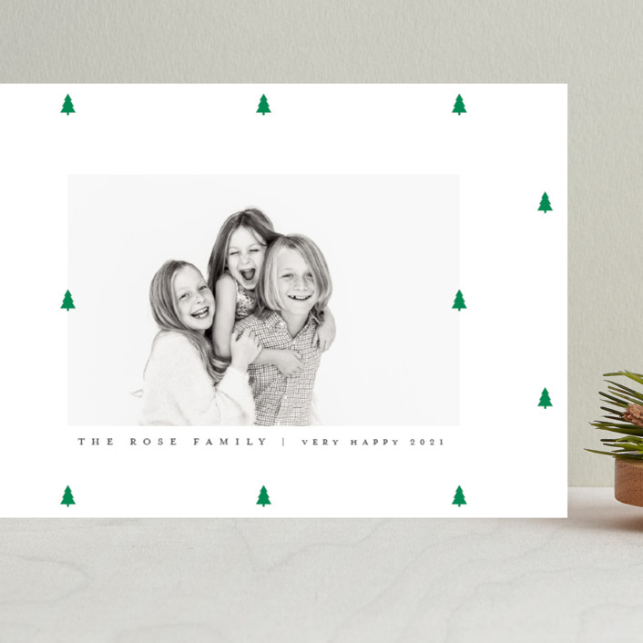 """""""Preppy Little Trees"""" - Grand Holiday Cards in Pine by Up Up Creative."""