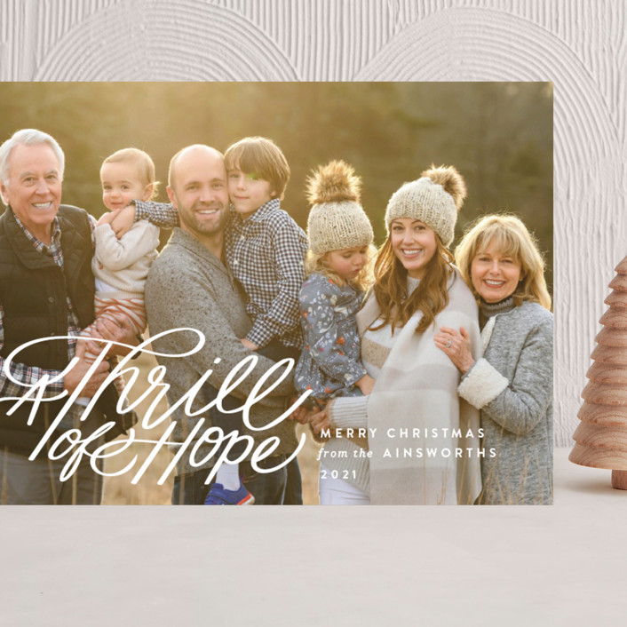 """""""Hope Script"""" - Bohemian Grand Holiday Cards in Snowdrift by Jill Means."""