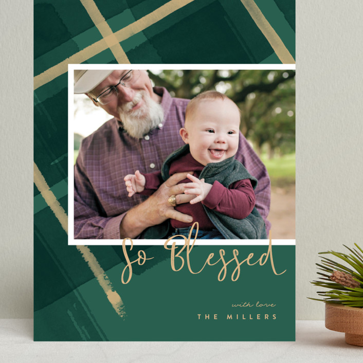 """""""Painted Holiday Plaid"""" - Grand Holiday Cards in Christmas Tree by Four Wet Feet Studio."""