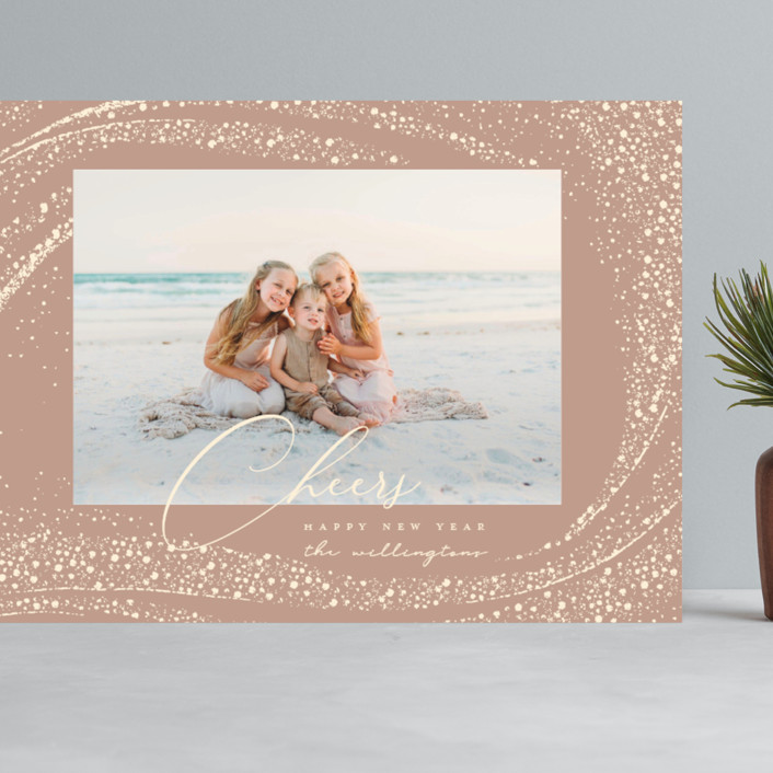 """Cheer Rays"" - Bohemian Grand Holiday Cards in Blush by Vivian Yiwing."