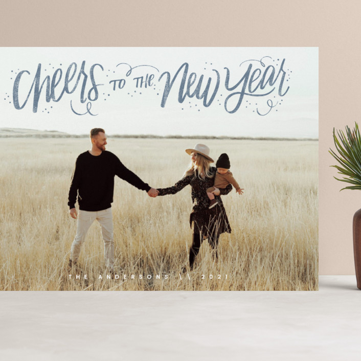 """""""Cheerful Lettering"""" - Bohemian Grand Holiday Cards in Frost by Cindy Reynolds."""