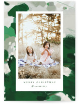 This is a green holiday photo card by Alaina Cherup called Blithely with standard printing on smooth signature in grand.