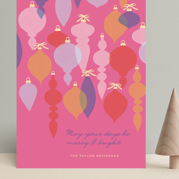 """""""Adornment"""" - Modern Grand Holiday Cards in Fuschia by Marabou Design."""