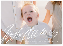 This is a white holiday photo card by Hannah Williams called Jingle All the Way with standard printing on smooth signature in grand.