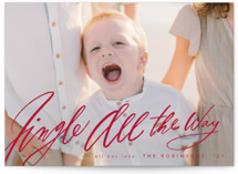 This is a red holiday photo card by Hannah Williams called Jingle All the Way with standard printing on smooth signature in grand.