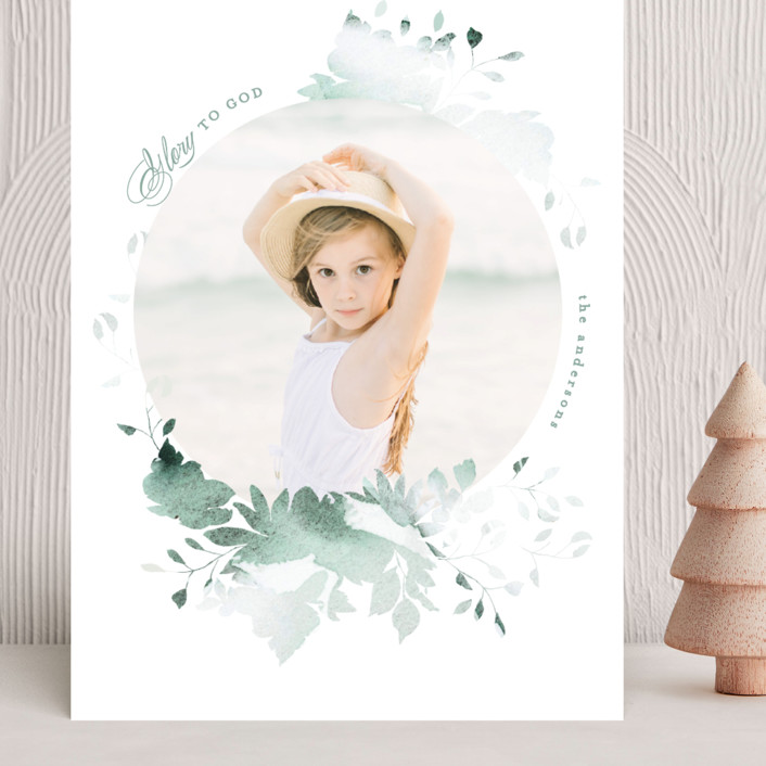 """""""Peaceful Blooms"""" - Grand Holiday Cards in Mint by Phrosne Ras."""