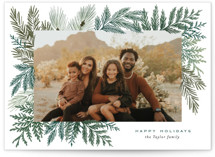 This is a green holiday photo card by Alethea and Ruth called Evergreen Variety with standard printing on signature in grand.