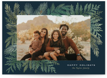 This is a blue holiday photo card by Alethea and Ruth called Evergreen Variety with standard printing on smooth signature in grand.