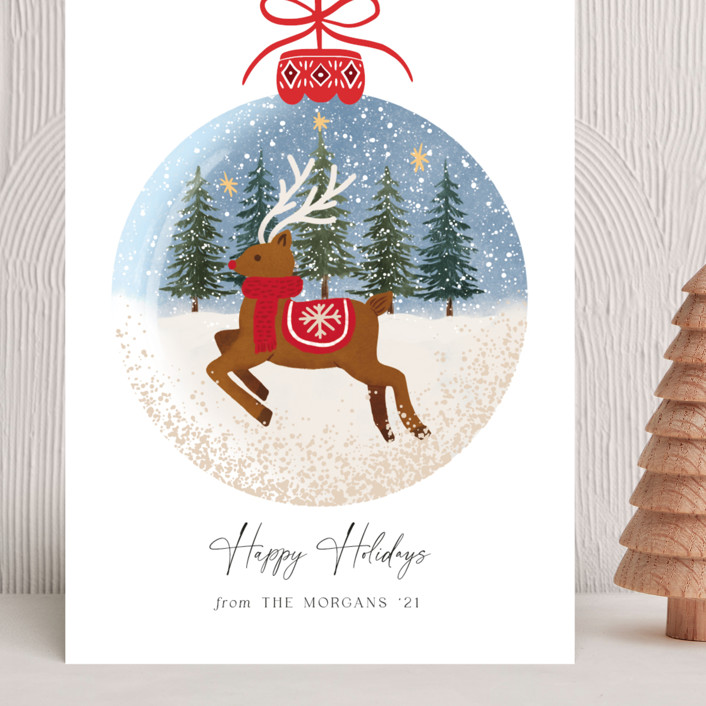 """""""Rudolph"""" - Bohemian Grand Holiday Cards in Cherry by Elly."""