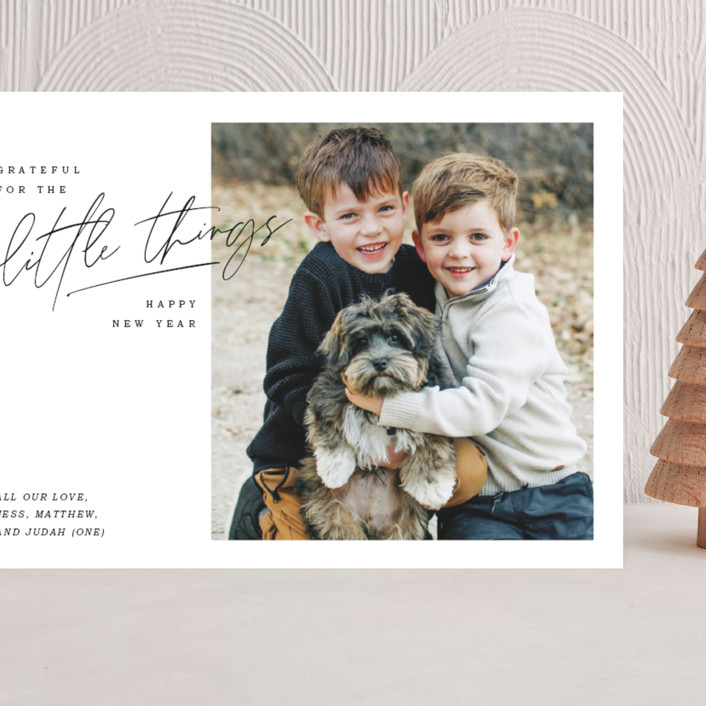 """""""grateful things"""" - Grand Holiday Cards in Midnight by Lindsay Stetson Thompson."""