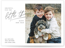 This is a black holiday photo card by Lindsay Stetson Thompson called grateful things with standard printing on smooth signature in grand.