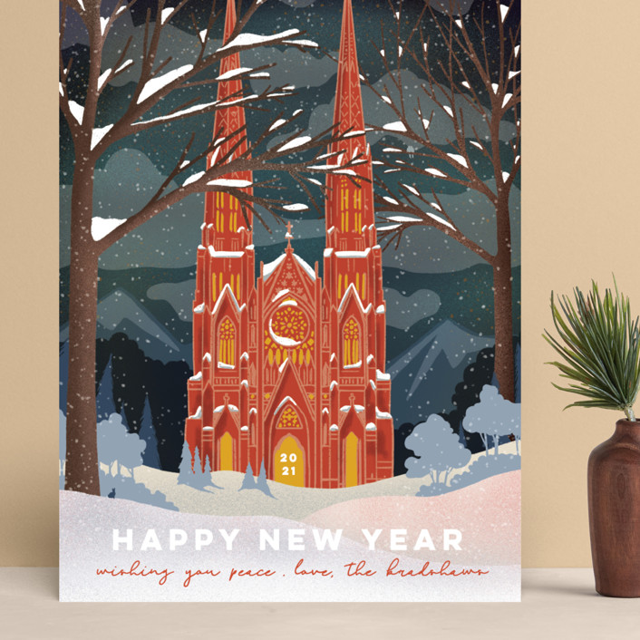 """""""Winter Cathedral"""" - Vintage Grand Holiday Cards in Cardinal by Becky Nimoy."""