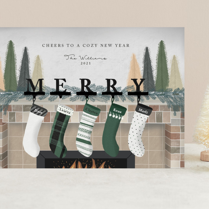 """""""Hearth Wishes"""" - Grand Holiday Cards in Ponderosa Pine by Carolyn Kach."""
