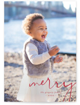 This is a red holiday photo card by Amy Kross called Simple Corner with standard printing on smooth signature in grand.