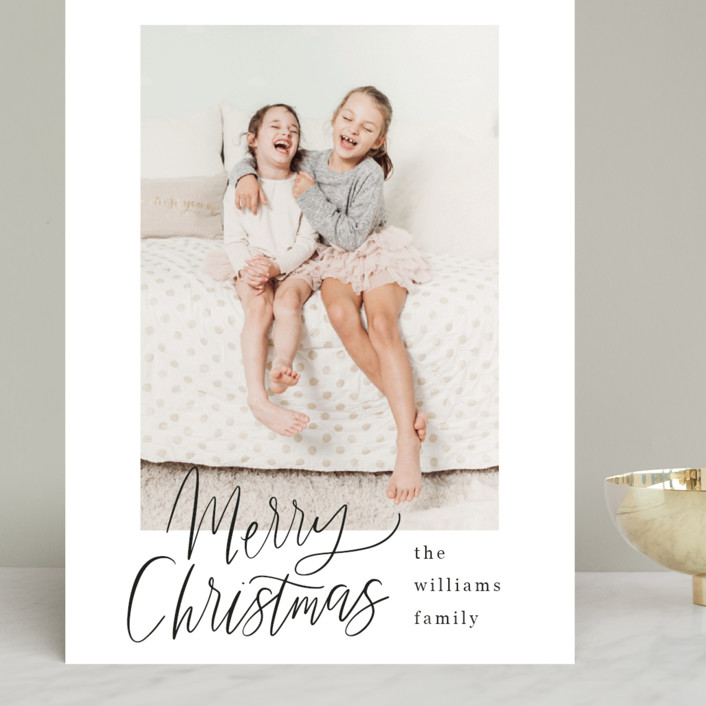 """Minimal Lettered Christmas"" - Grand Holiday Cards in Onyx by Alicia Schultz."