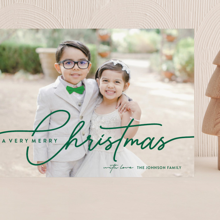 """""""Calligraphic Script"""" - Grand Holiday Cards in Evergreen by Nam Bourassa."""