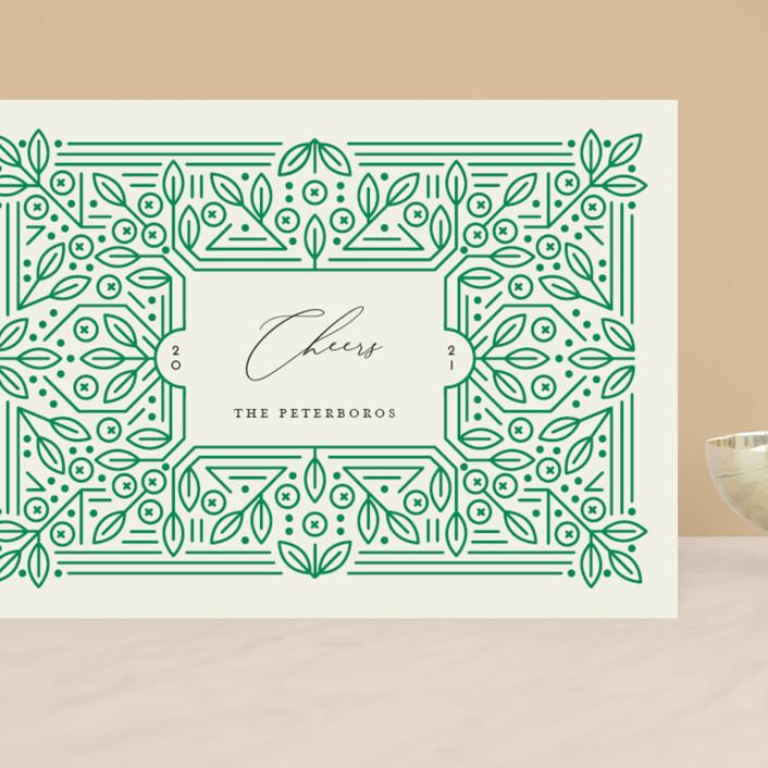 """Ornamental"" - Vintage Grand Holiday Cards in Forest by Genna Blackburn."