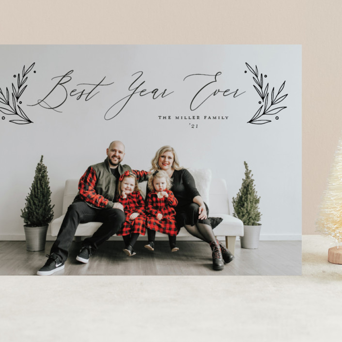 """""""Chic Script"""" - Grand Holiday Cards in Coal by Nicole Barreto."""