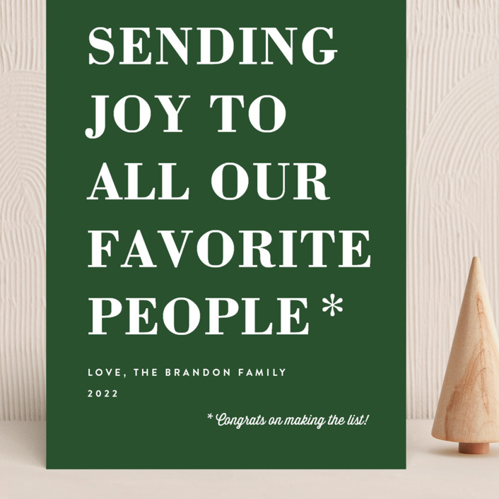 """""""You Made the List"""" - Funny Grand Holiday Cards in Evergreen by Amy Payne."""