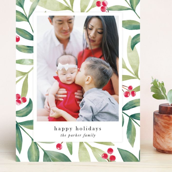 """Holiday Greenery"" - Grand Holiday Cards in Holly Berry by Jana Volfova."