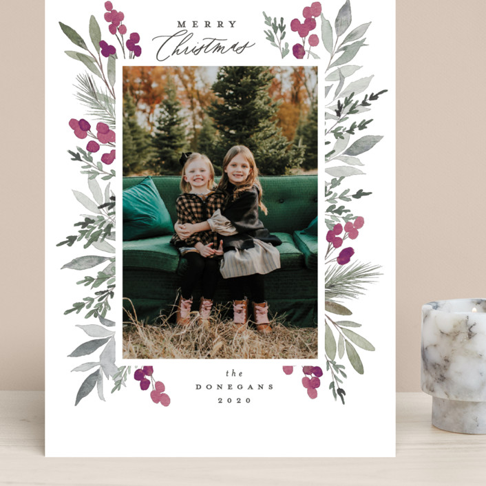 """""""Abundant"""" - Grand Holiday Cards in Azure by Everett Paper Goods."""