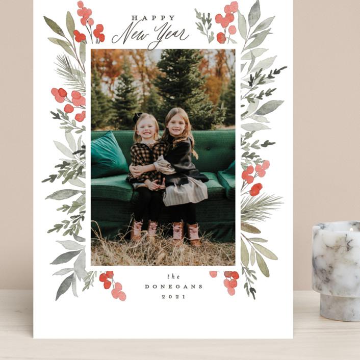 """Abundant"" - Grand Holiday Cards in Crimson by Everett Paper Goods."