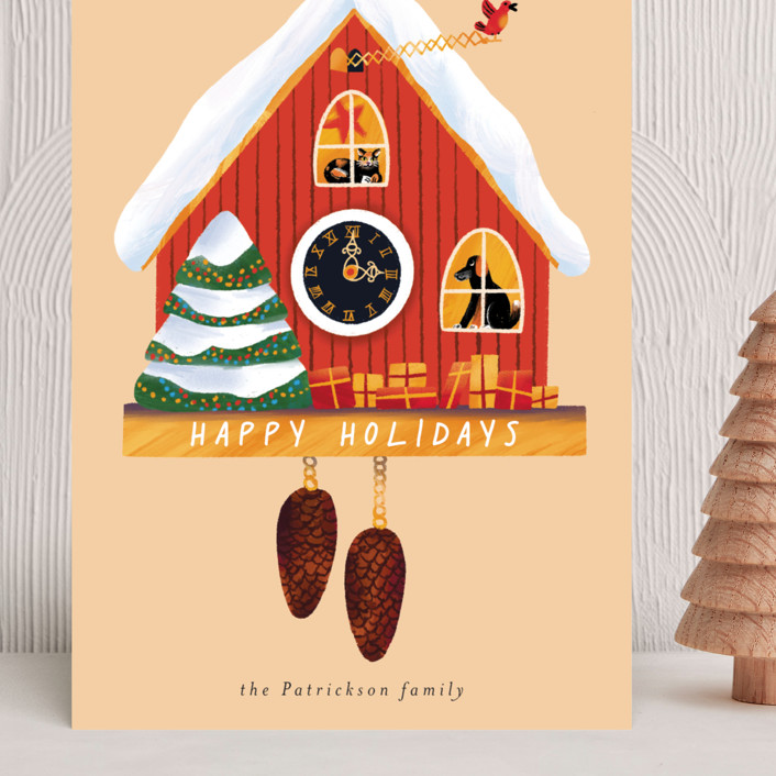 """""""Holiday cuckoo clock"""" - Vintage Grand Holiday Cards in Cream by Alexandra Dzh."""