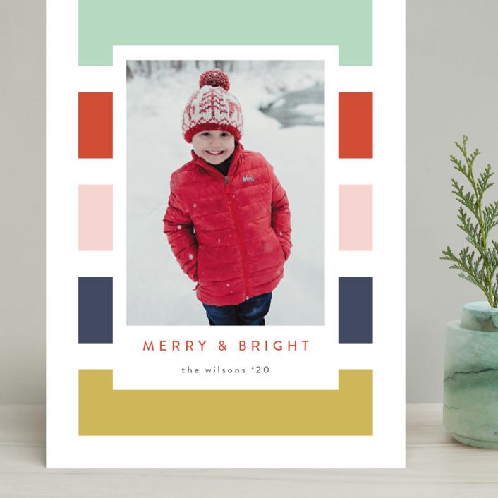 """Holiday Stripe"" - Modern Grand Holiday Cards in Confetti by Kasia Labocki."