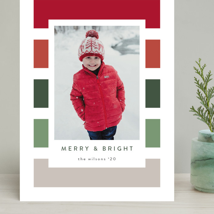"""""""Holiday Stripe"""" - Modern Grand Holiday Cards in Cranberry by Kasia Labocki."""
