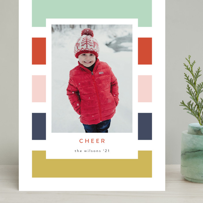"""Holiday Stripe"" - Modern Grand Holiday Cards in Confetti by Kasia Labocki."