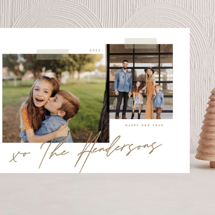 """""""Snapshots"""" - Modern Grand Holiday Cards in Wheat by That Girl Press."""
